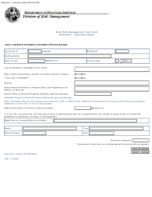 Form DFS-DO-855  Printable Pdf