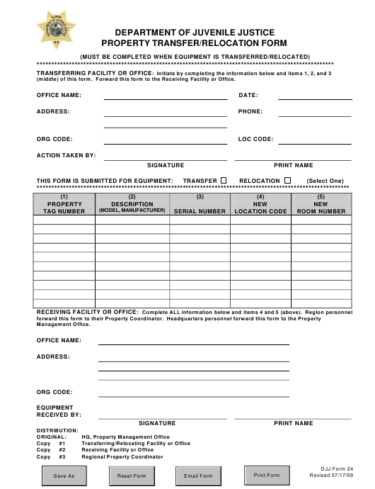 DJJ Form 24  Printable Pdf