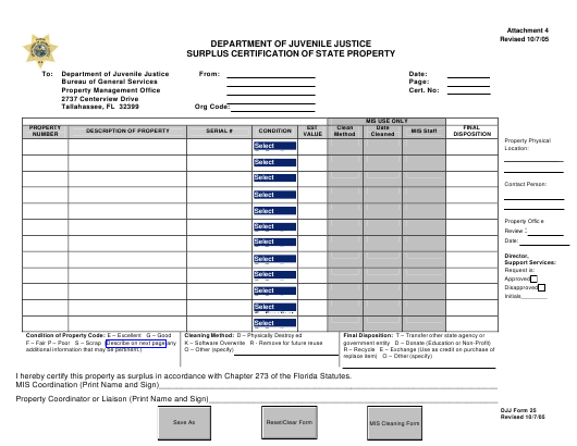 """Surplus Certification of State Property"" - Florida Download Pdf"
