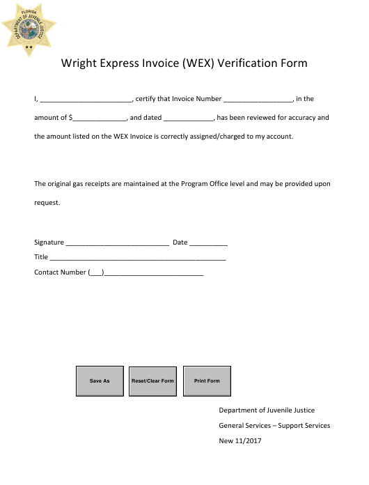 """Wright Express Invoice (Wex) Verification Form"" - Florida Download Pdf"