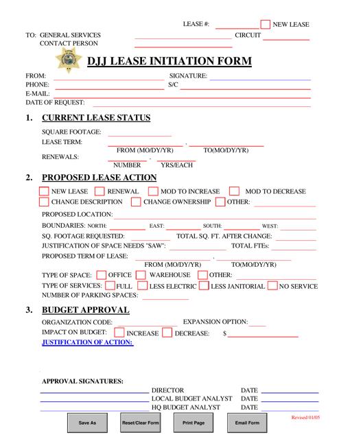 """DJJ Lease Initiation Form"" - Florida Download Pdf"