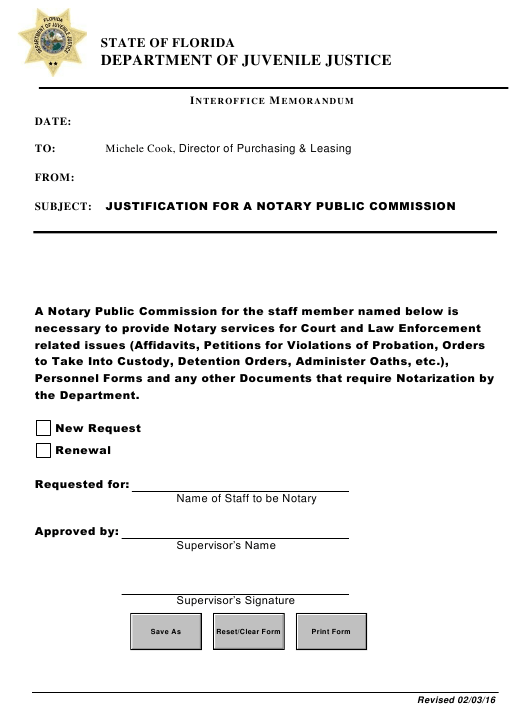 """""""Notary Commission Justification Form"""" - Florida Download Pdf"""