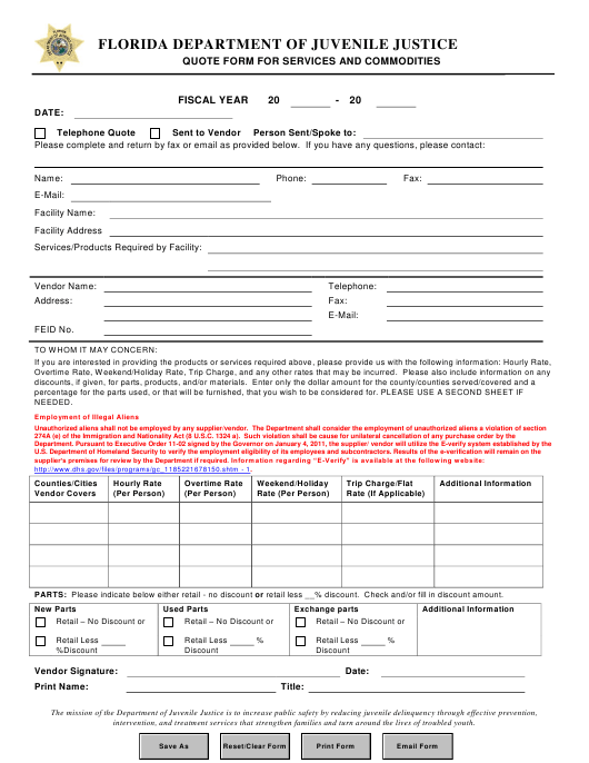 """""""Quote Form for Services and Commodities"""" - Florida Download Pdf"""