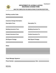 """DJJ Form 28 """"Insurance Change Form"""" - Florida"""