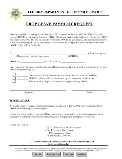 """""""Drop Leave Payment Request Form"""" - Florida Download Pdf"""