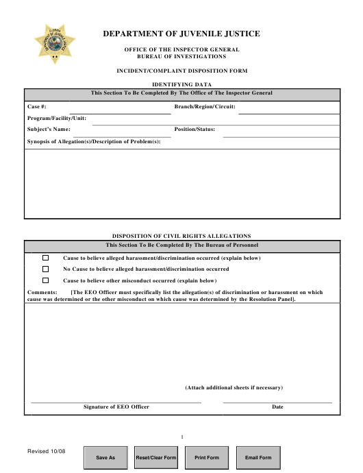 """Incident/Complaint Disposition Form"" - Florida Download Pdf"