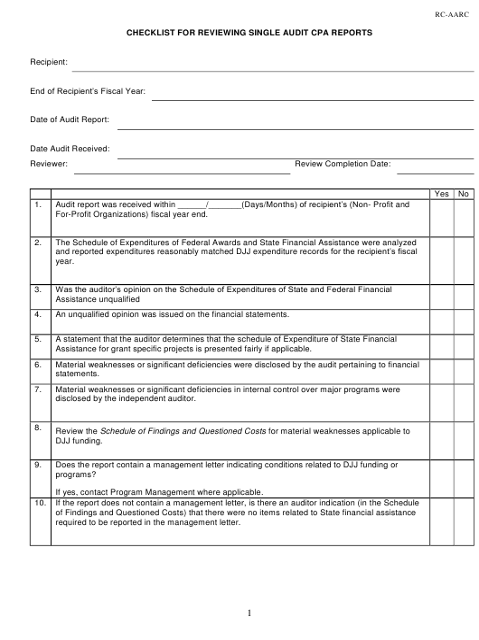 DJJ Form RC-AARC  Printable Pdf
