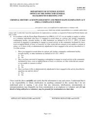 "DJJ Form IG/BSU-003 ""Criminal History Acknowledgement and Prison Rape Elimination Act (Prea) Compliance Form"" - Florida"