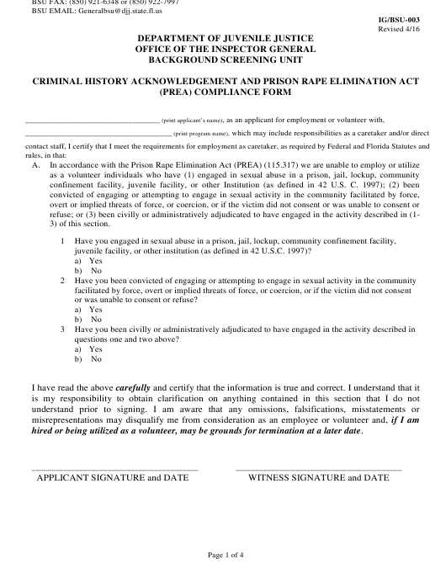 DJJ Form IG/BSU-003  Printable Pdf