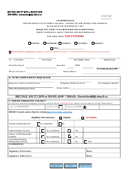 """DJJ Form IG/BSU-005 """"Request for Clearinghouse Screening for Provider Volunteers"""" - Florida"""
