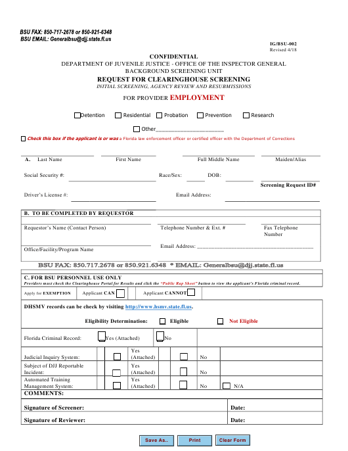 DJJ Form IG/BSU-002  Printable Pdf