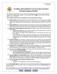 """DJJ Form IG/BSU-007 """"Exemption Request Checklist"""" - Florida"""