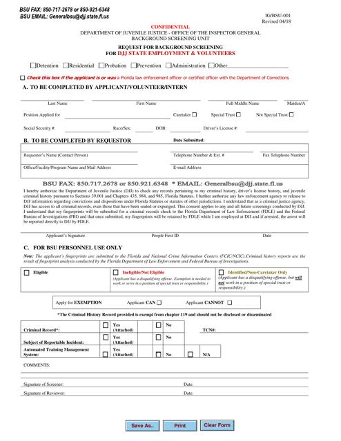 DJJ Form IG/BSU-001  Printable Pdf