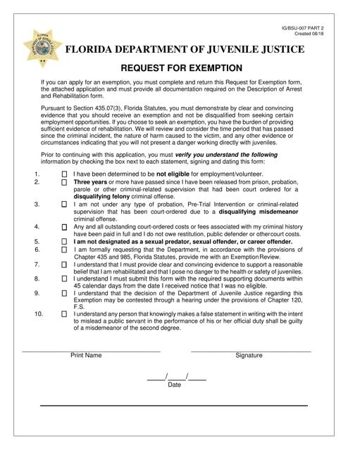 DJJ Form IG/BSU-007  Printable Pdf