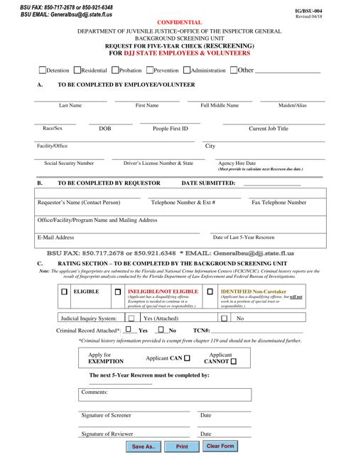 DJJ Form IG/BSU-004  Printable Pdf