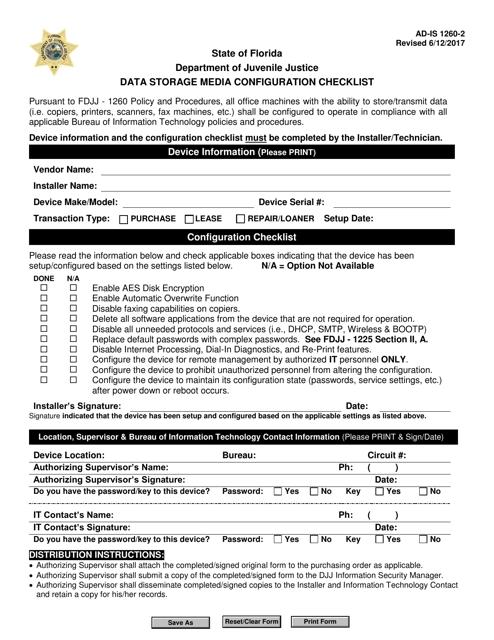 DJJ Form AD-IS1260-2  Printable Pdf
