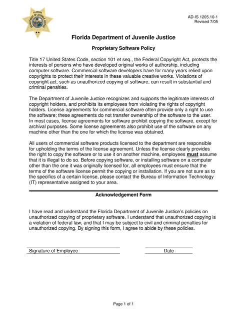 DJJ Form AD-IS1205.10-1  Printable Pdf