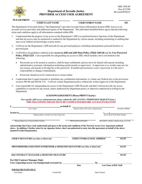 DJJ Form MIS1205.60  Printable Pdf