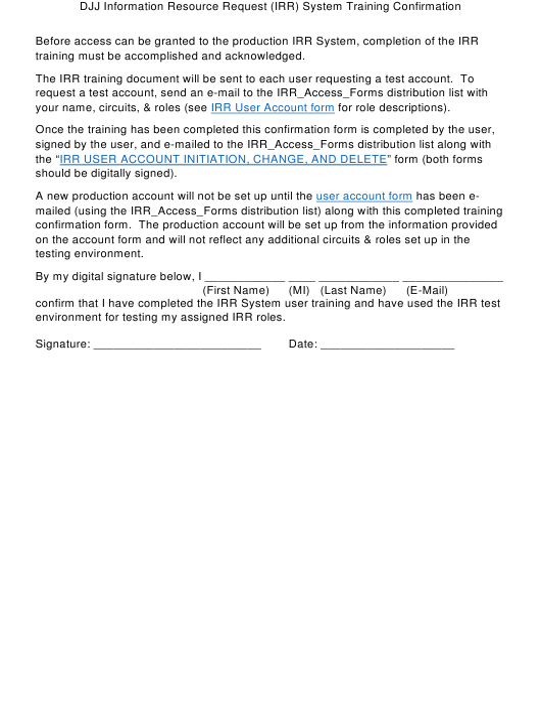 """DJJ Information Resource Request (Irr) System Training Confirmation Form"" - Florida Download Pdf"