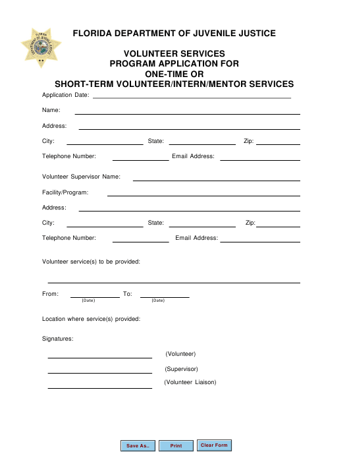 """Volunteer Services Program Application for One-Time or Short-Term Volunteer/Intern/Mentor Services"" - Florida Download Pdf"