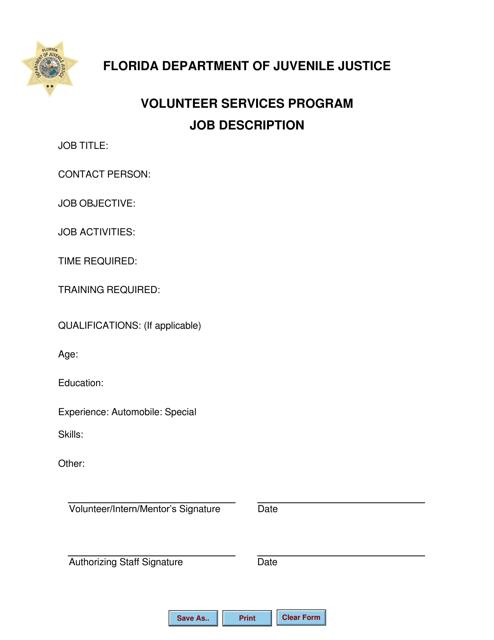 """Job Description Form - Volunteer Services Program"" - Florida Download Pdf"