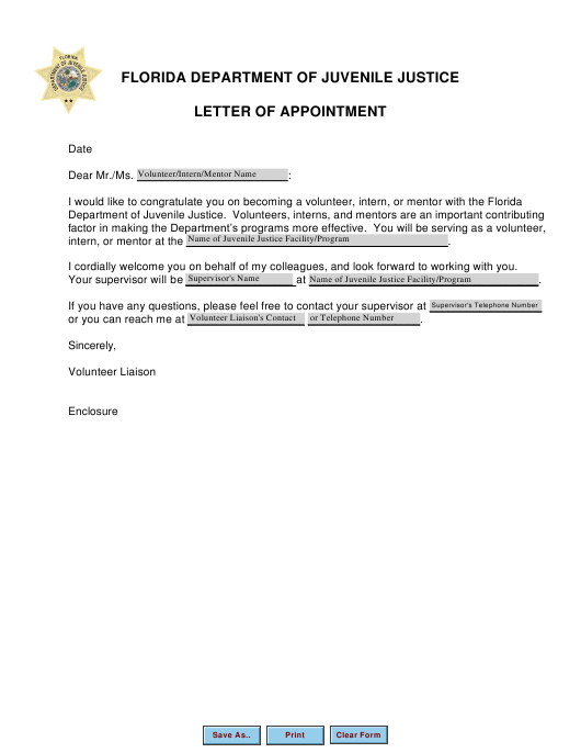 """Letter of Appointment"" - Florida Download Pdf"