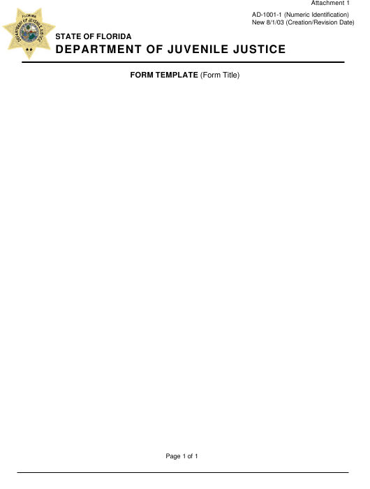 Form AD-1001-1 Attachment 1  Printable Pdf