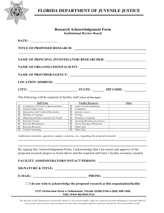 """""""Research Acknowledgement Form - Institutional Review Board"""" - Florida Download Pdf"""