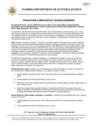 """DJJ Form PREA01 Exhibit B """"Prison Rape Elimination Act Acknowledgement"""" - Florida"""