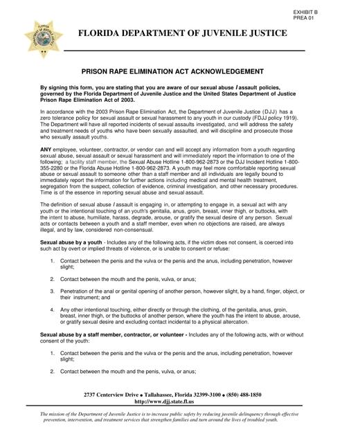 DJJ Form PREA01 Exhibit B  Printable Pdf
