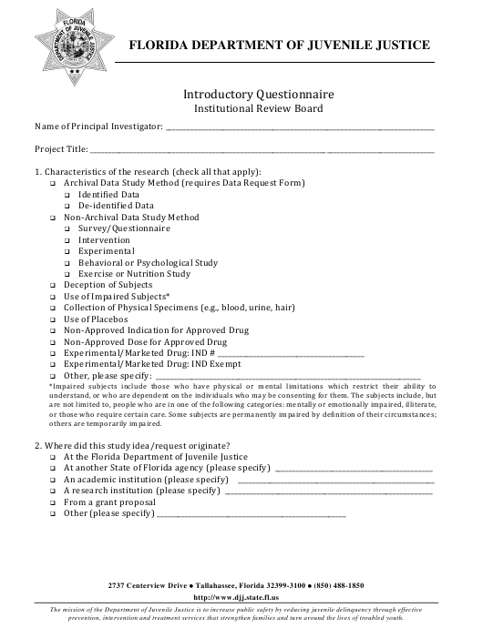 """""""Introductory Questionnaire Form - Institutional Review Board"""" - Florida Download Pdf"""