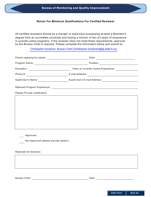 """""""Waiver for Minimum Qualifications for Certified Reviewer"""" - Florida Download Pdf"""