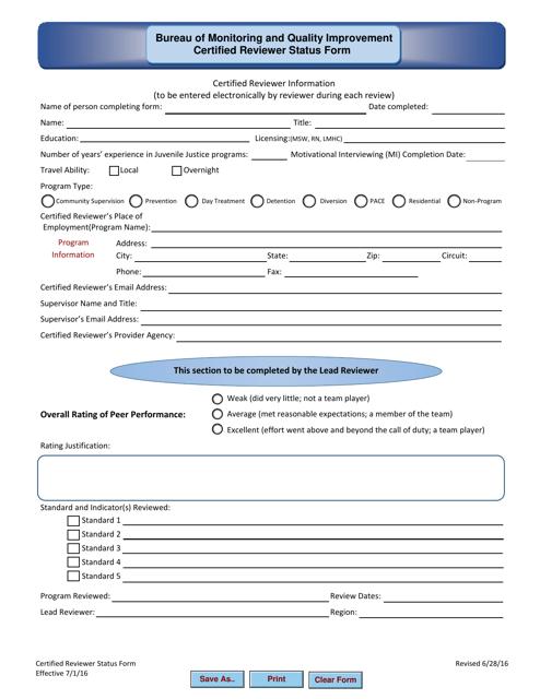 """Certified Reviewer Status Form"" - Florida Download Pdf"