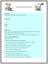"""Following Instructions Worksheet"" - Florida"