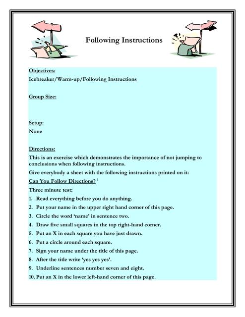 """Following Instructions Worksheet"" - Florida Download Pdf"