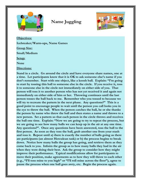 """""""Name Juggling Worksheet"""" - Florida Download Pdf"""