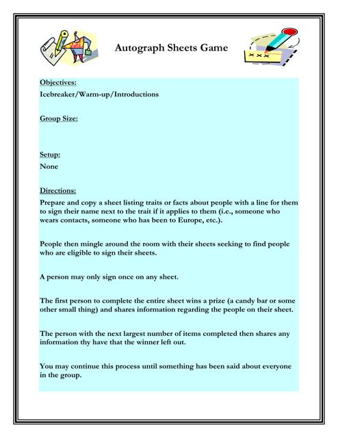 """Autograph Sheets Game Worksheet"" - Florida Download Pdf"