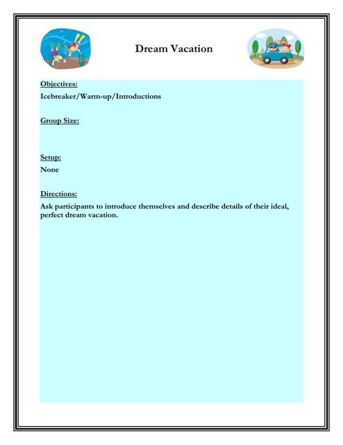 """Dream Vacation Worksheet"" - Florida Download Pdf"