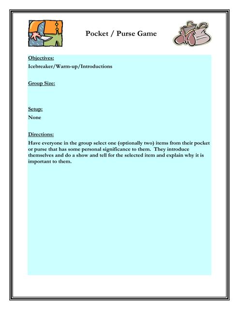 """Pocket / Purse Game Worksheet"" - Florida Download Pdf"