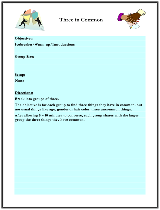 """Three in Common Worksheet"" - Florida Download Pdf"