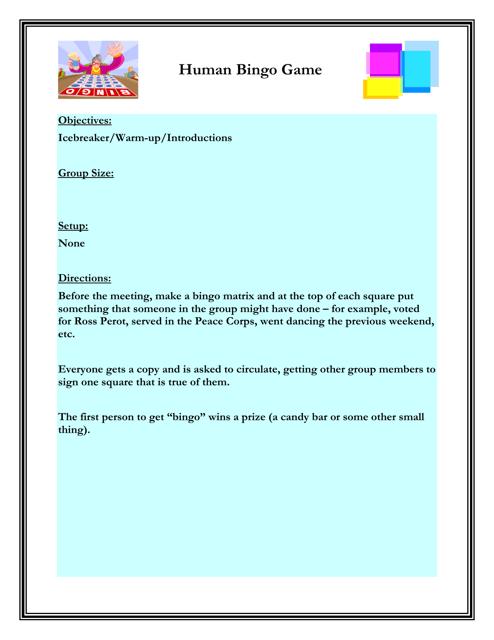 """""""Human Bingo Game Worksheet"""" - Florida Download Pdf"""