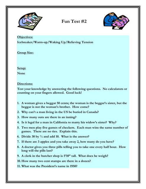 """Common Bonds Fun Test #2 With Answer Key"" - Florida Download Pdf"