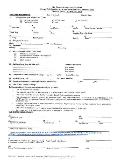 """Florida Safe Families Network (Fsfn) Security and Access Request Form"" - Florida Download Pdf"