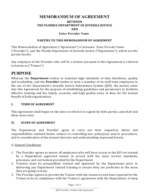 """Memorandum of Agreement Between the Florida Department of Juvenile Justice and Provider"" - Florida Download Pdf"