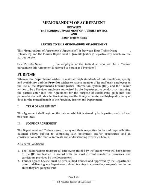 """Memorandum of Agreement Between the Florida Department of Juvenile Justice and Trainer"" - Florida Download Pdf"