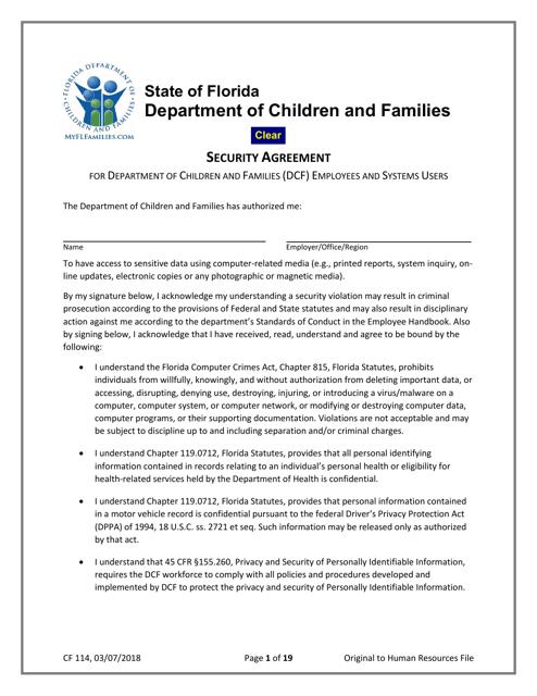 Form CF114  Printable Pdf