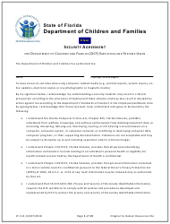 Form CF 114 Security Agreement For Department Of Children And Families (dcf) Employees And Systems Users - Florida