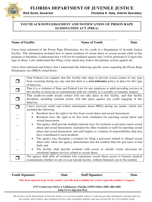 """""""Youth Acknowledgement and Notification of Prison Rape Elimination Act (Prea)"""" - Florida Download Pdf"""