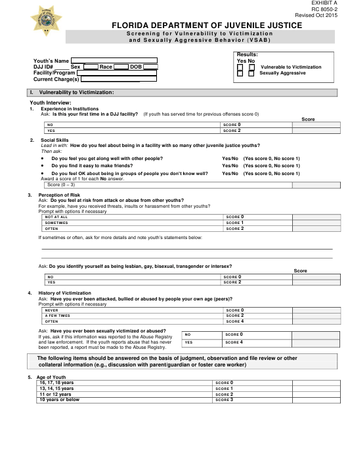 DJJ Form RC8050-2  Printable Pdf
