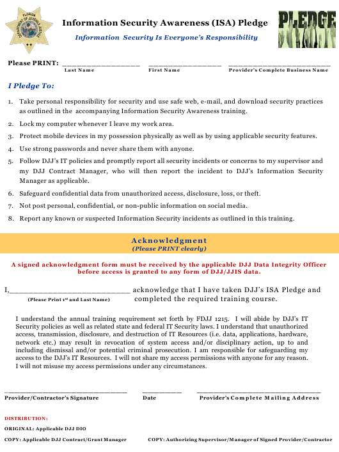"""Information Security Awareness (Isa) Pledge Form"" - Florida Download Pdf"